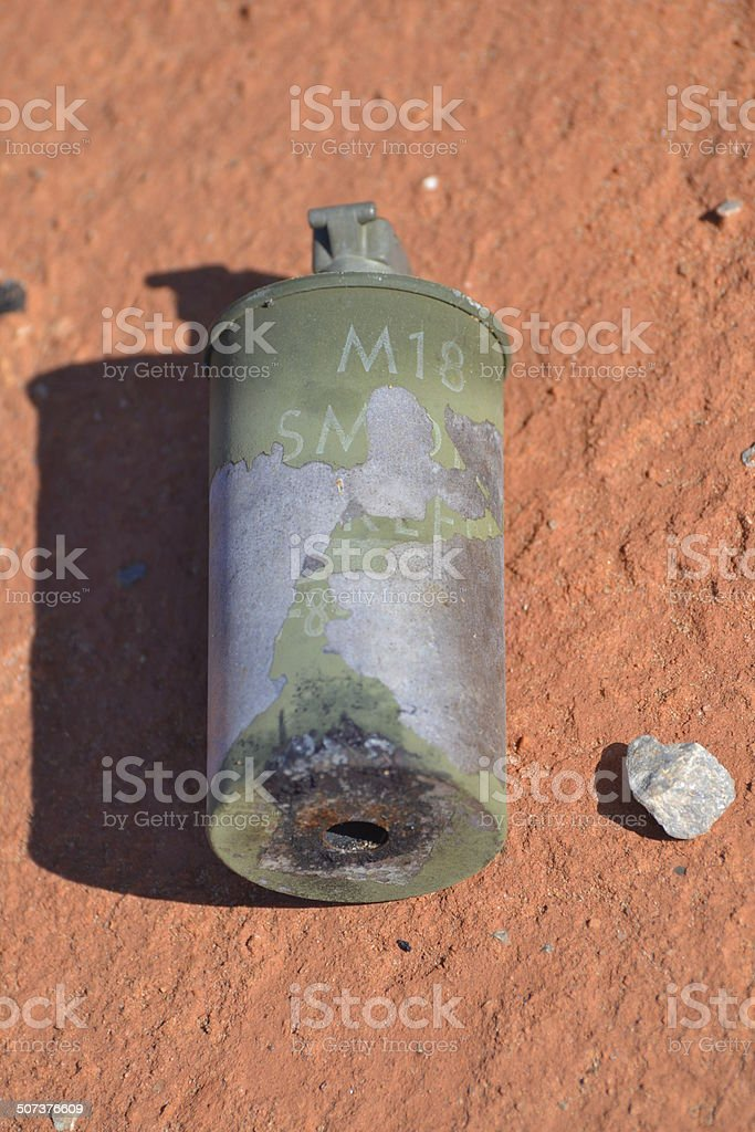 Used M18 Smoke Grenade stock photo