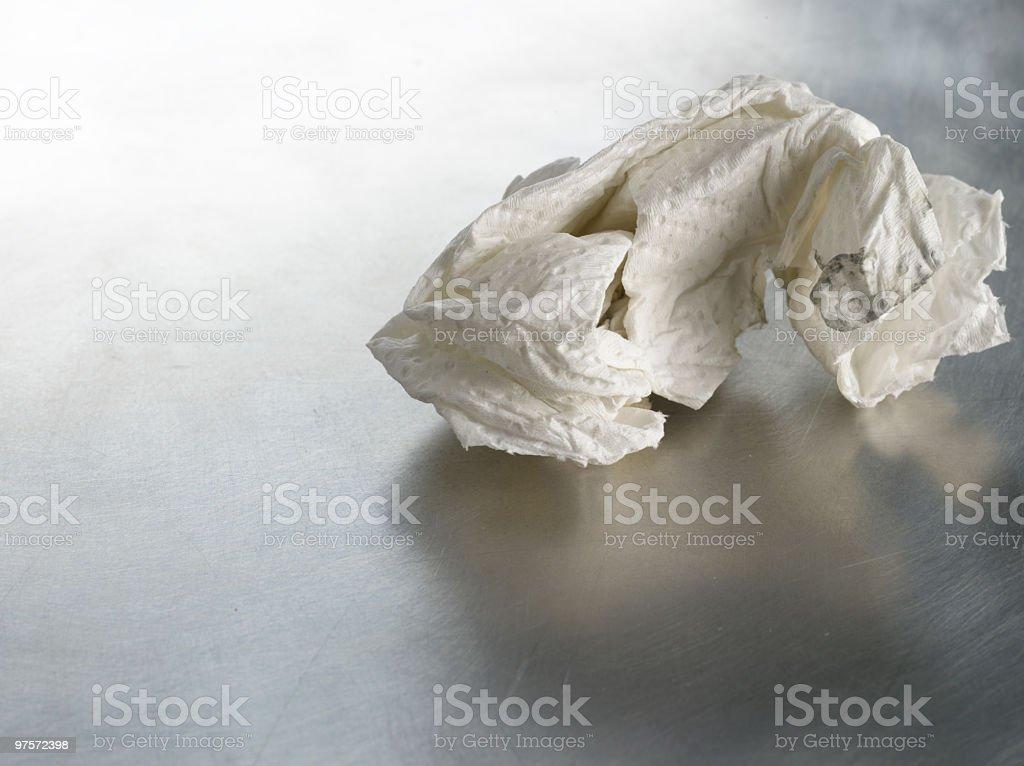 Used Napkin on Metallic Surface royalty-free stock photo
