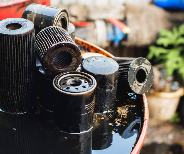 Used oil filters for low depth of field stock photo