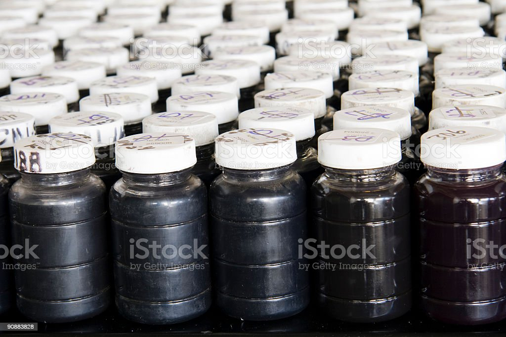 Used oil samples stock photo