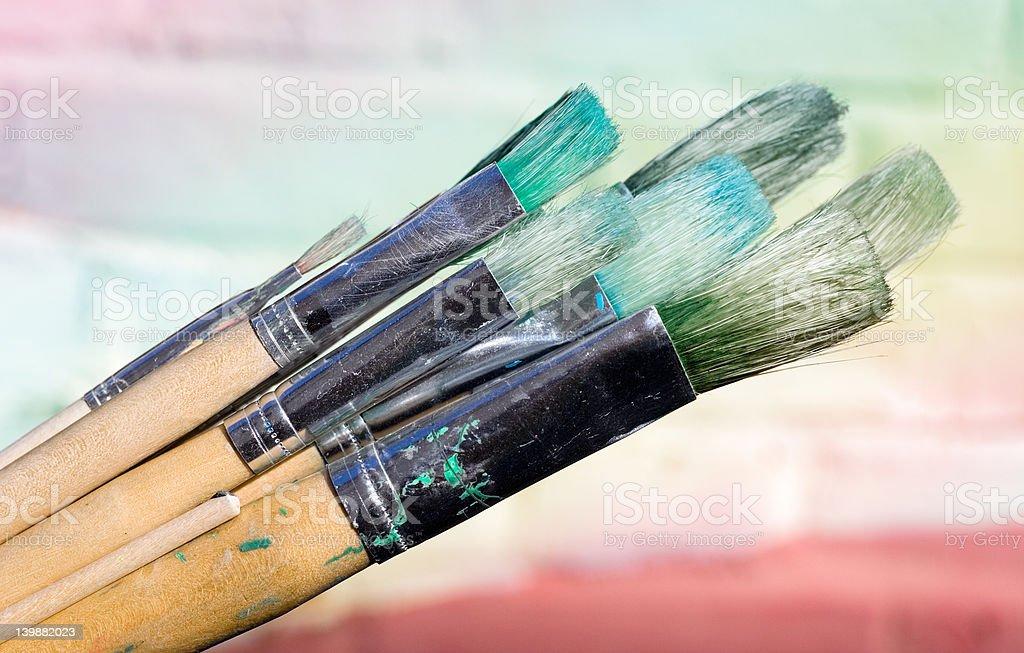 Used Paint Brushes royalty-free stock photo