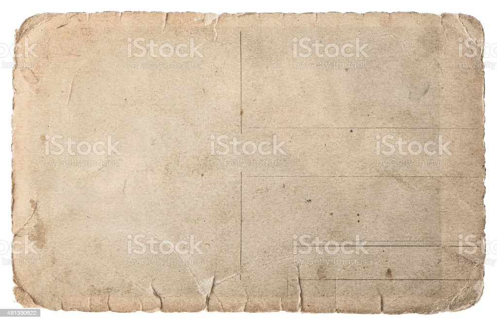 Used paper isolated on white. Vintage torn cardboard stock photo