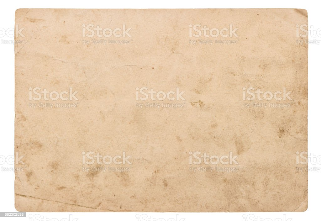 Used paper sheet isolated white background Vintage cardboard stock photo