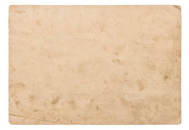 Used paper sheet isolated white background Vintage cardboard stock photo