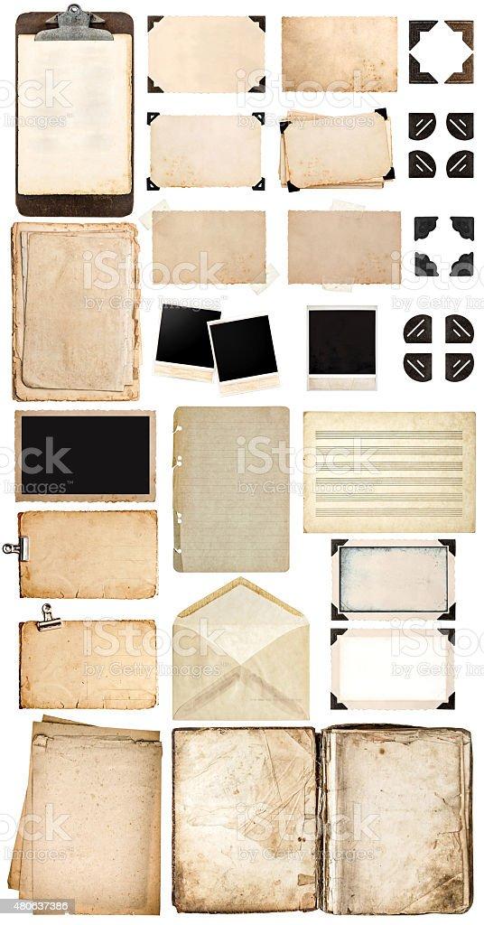 Verwendet Papier Laken Buch Vintage Fotorahmen Und Ecken Stock ...