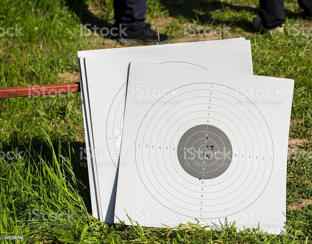 Used paper targets stock photo