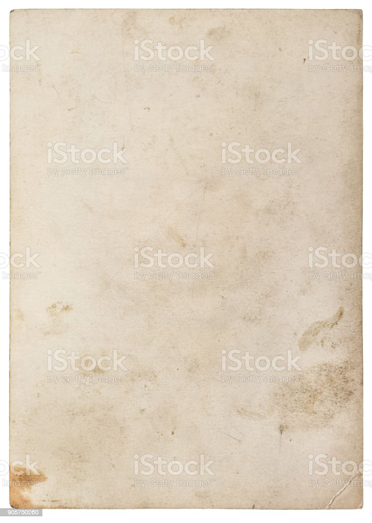 Used paper texture Worn sheet isolated white background stock photo