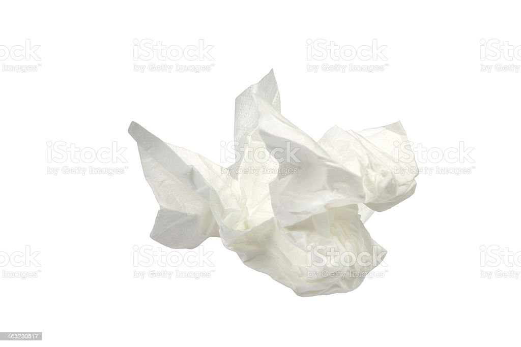 used paper tissue on white stock photo