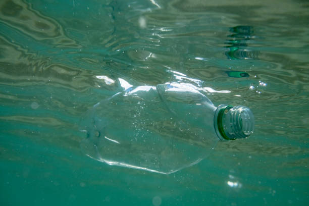 used plastic water bottle in the sea. - trash stock photos and pictures