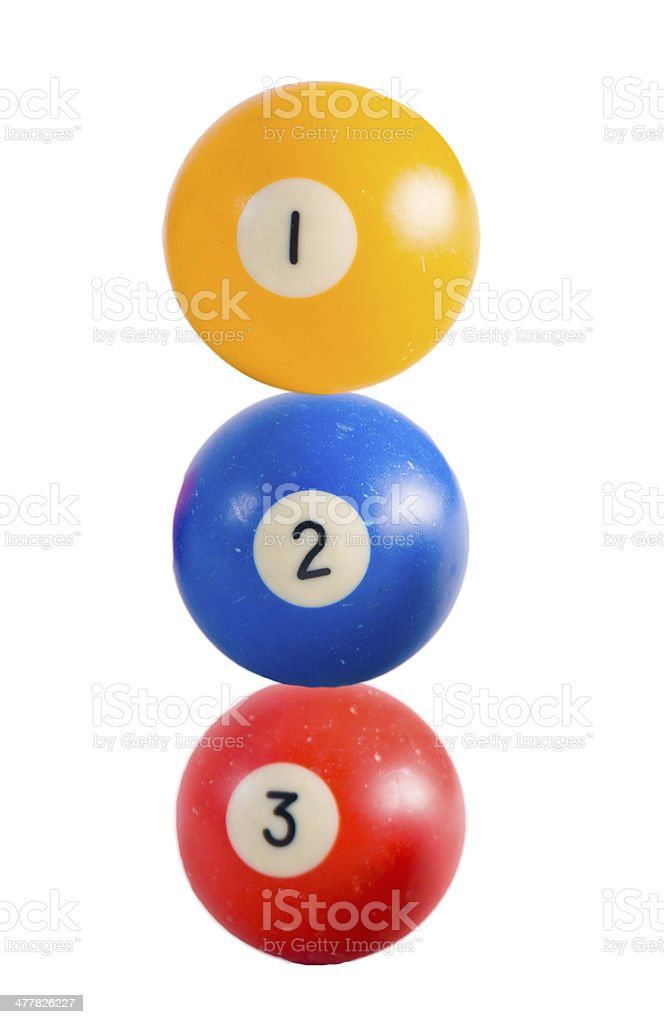 Used Pool ball on white background royalty-free stock photo