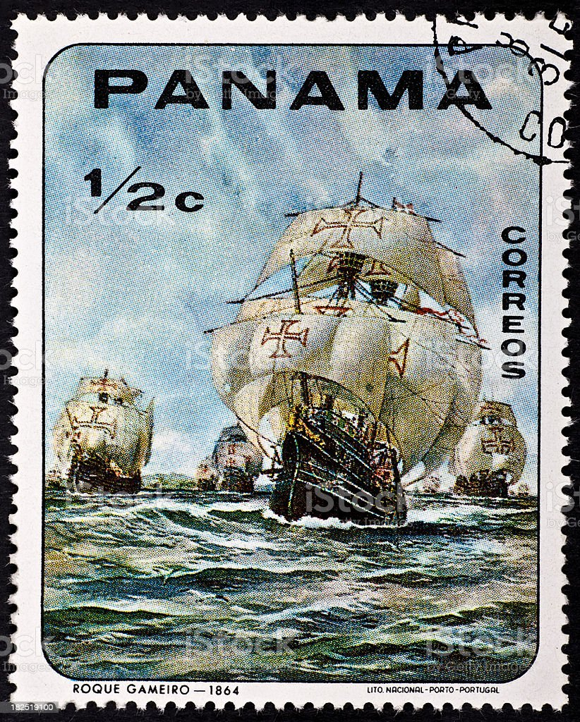Used Postage Stamp With Sailboat royalty-free stock photo