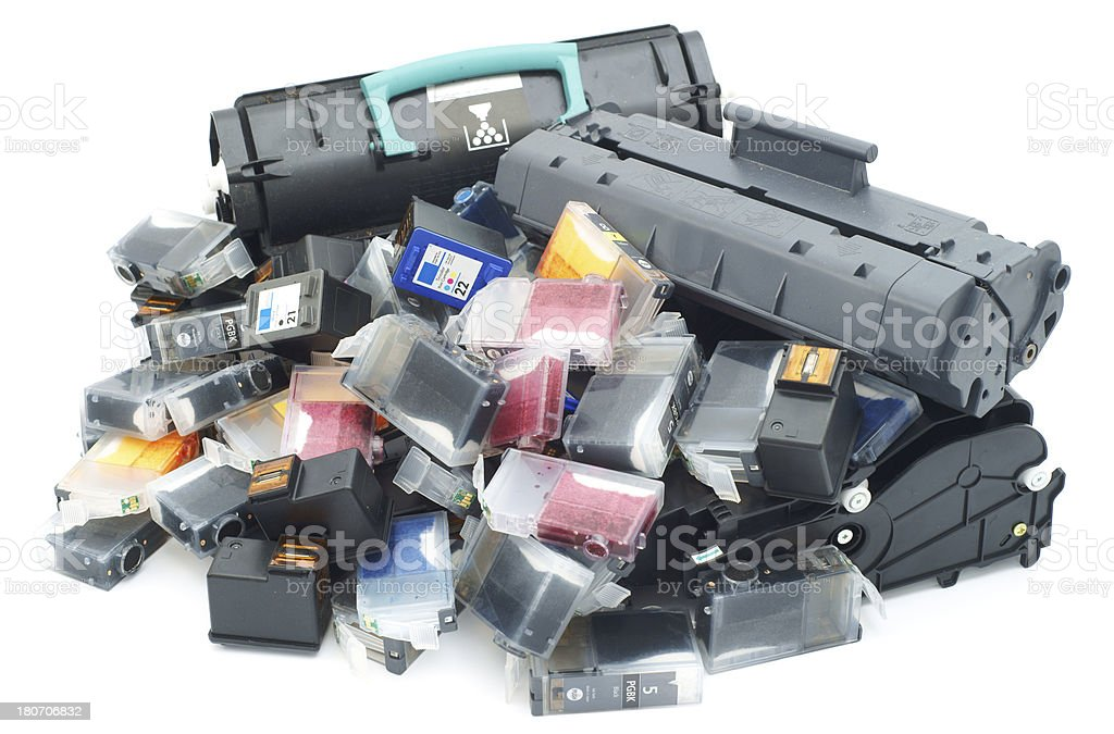 Used printer cartridges pile isolated on white royalty-free stock photo
