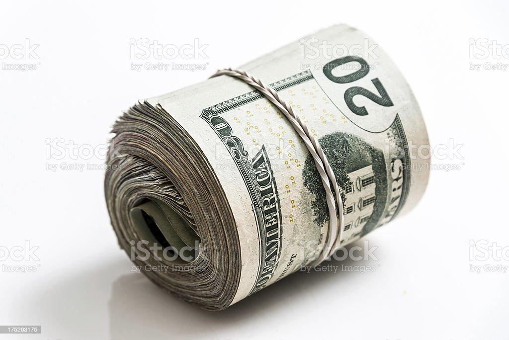 Used Rolled Twenty Dollar Bills Bundle royalty-free stock photo