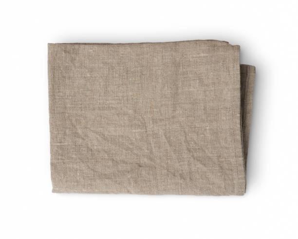 används skrynklig vikta linne kökshandduk isolerad på vit bakgrund - servett bildbanksfoton och bilder