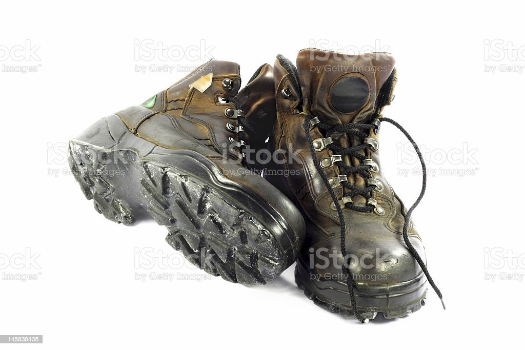 Used Safety Shoes. stock photo