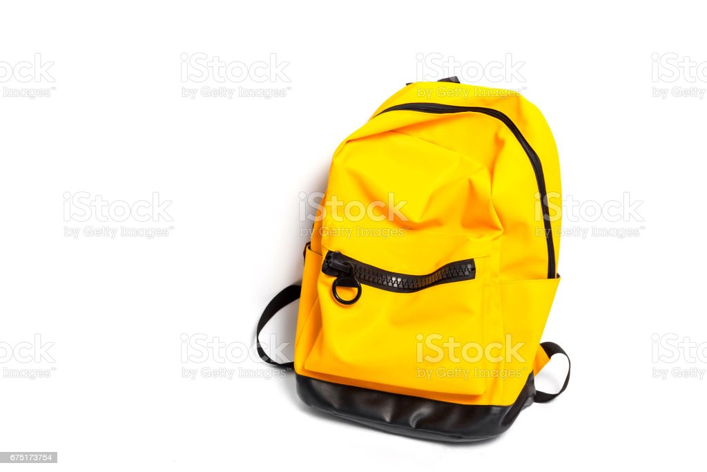 e54505651 Used school backpack isolated on white background royalty-free stock photo