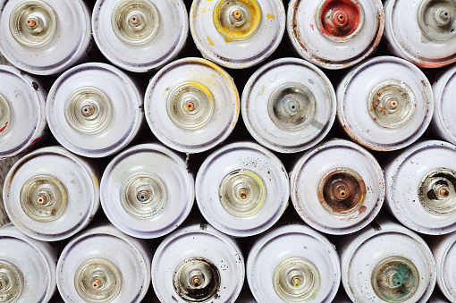 used spray paint cans