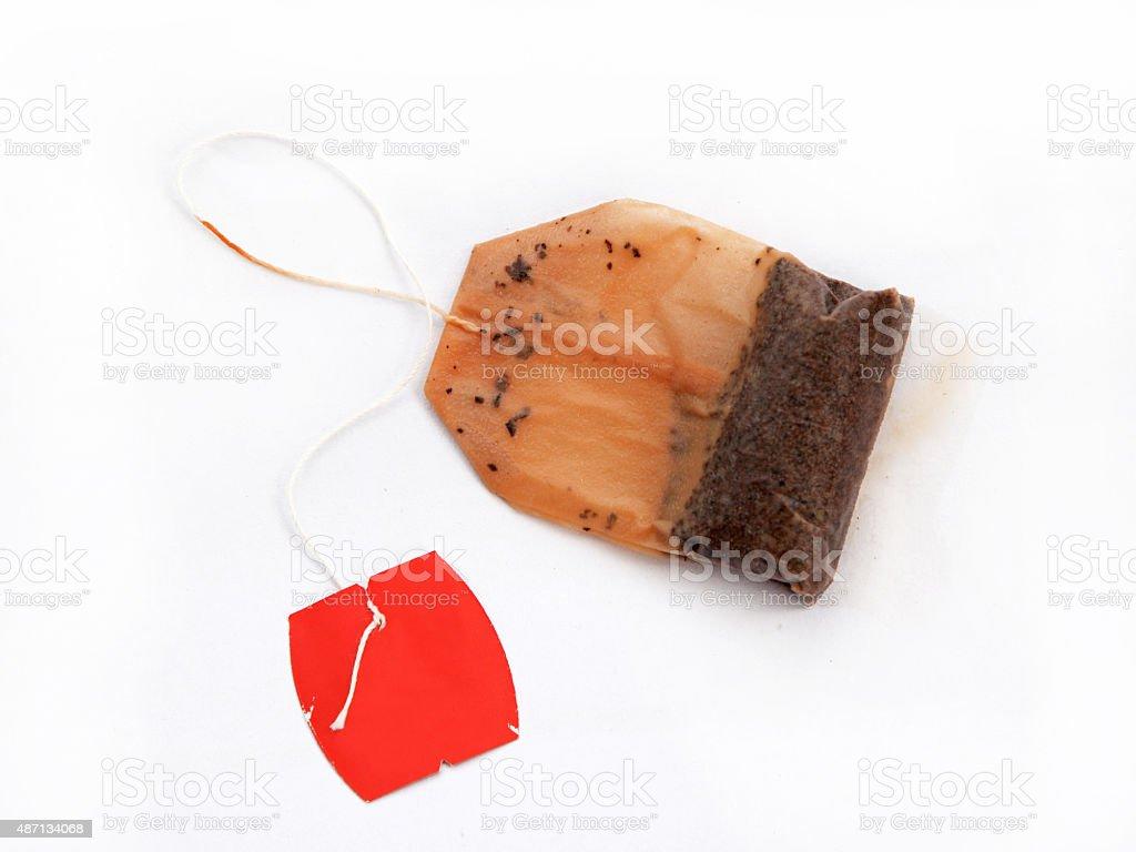 Used Tea Bag on White Background stock photo