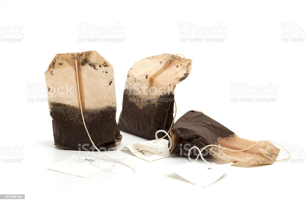 used teabags stock photo