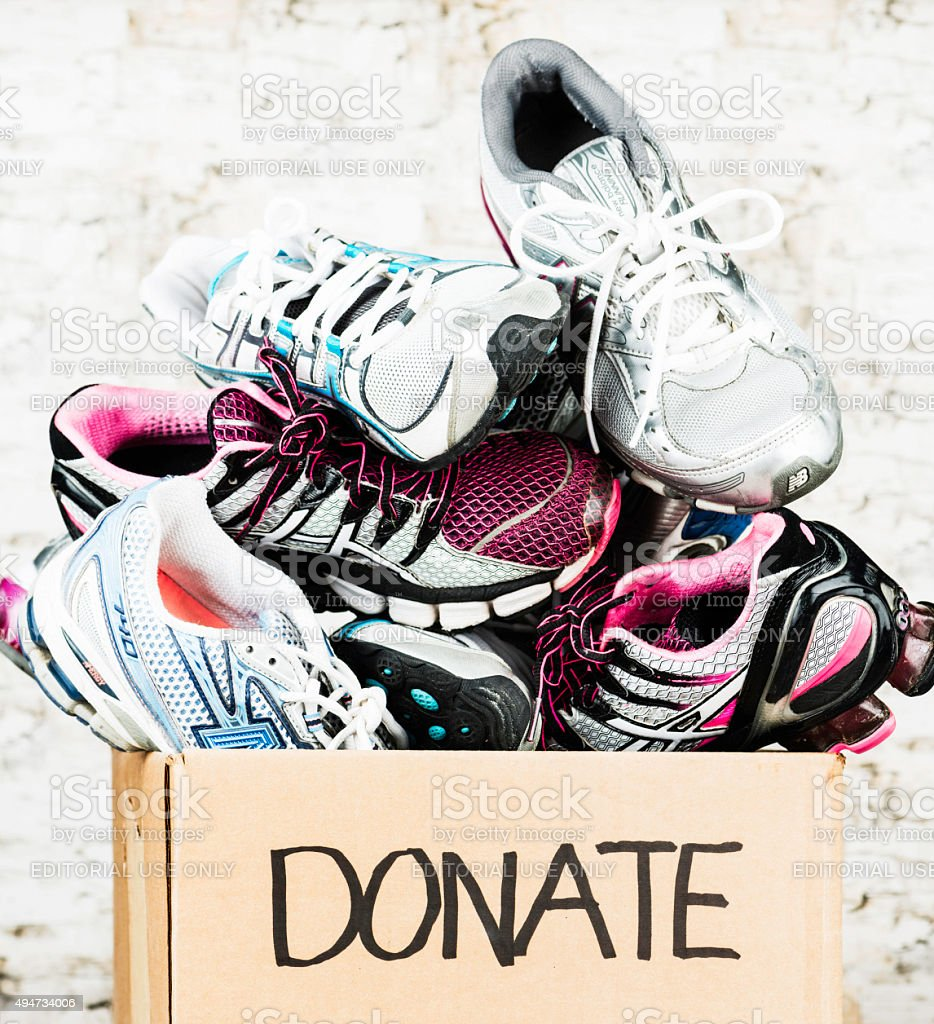 Used Tennis Shoes Ready for Donation stock photo
