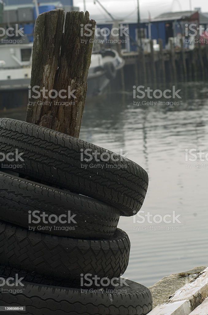 Used Tires Portland >> Used Tires Stacked On A Pier Piling Stock Photo More Pictures Of