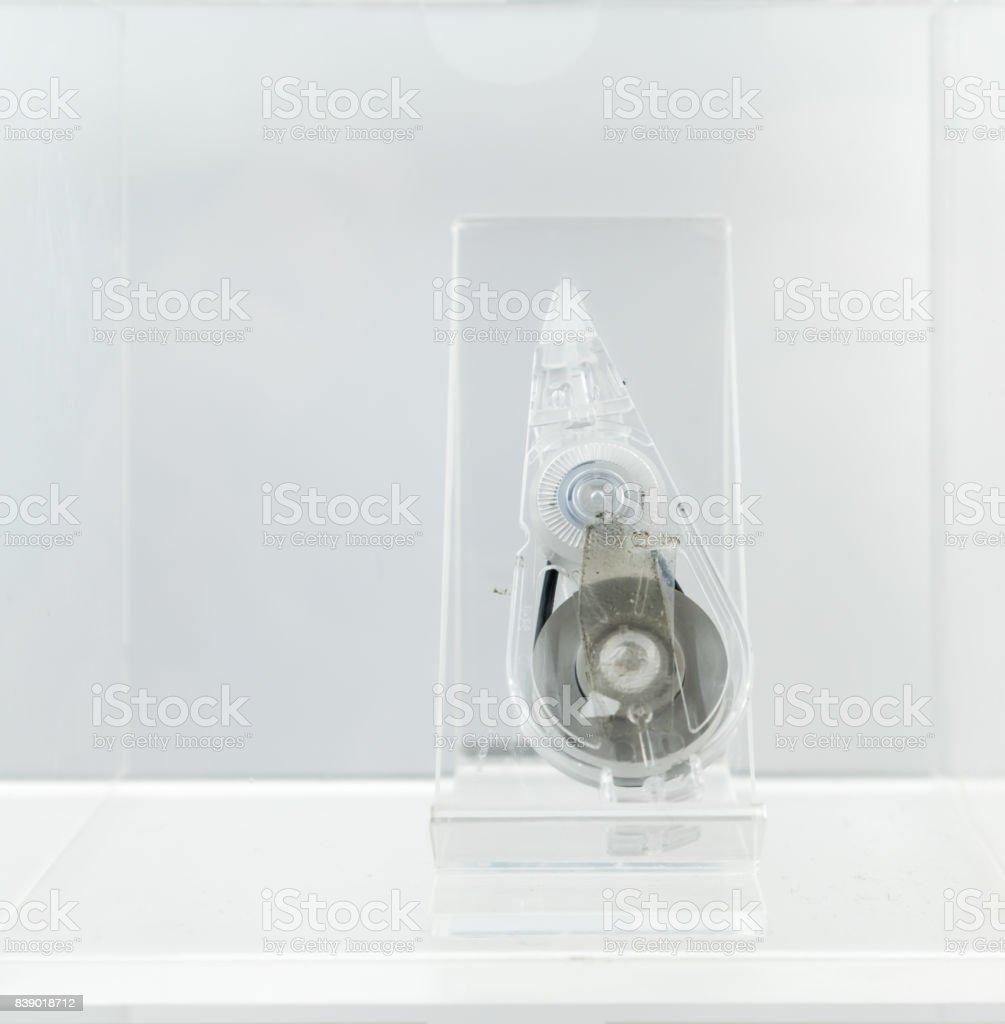 Used transparent correction tape stock photo