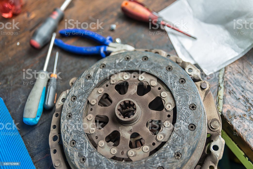 Used Vehicle Clutch and tools stock photo