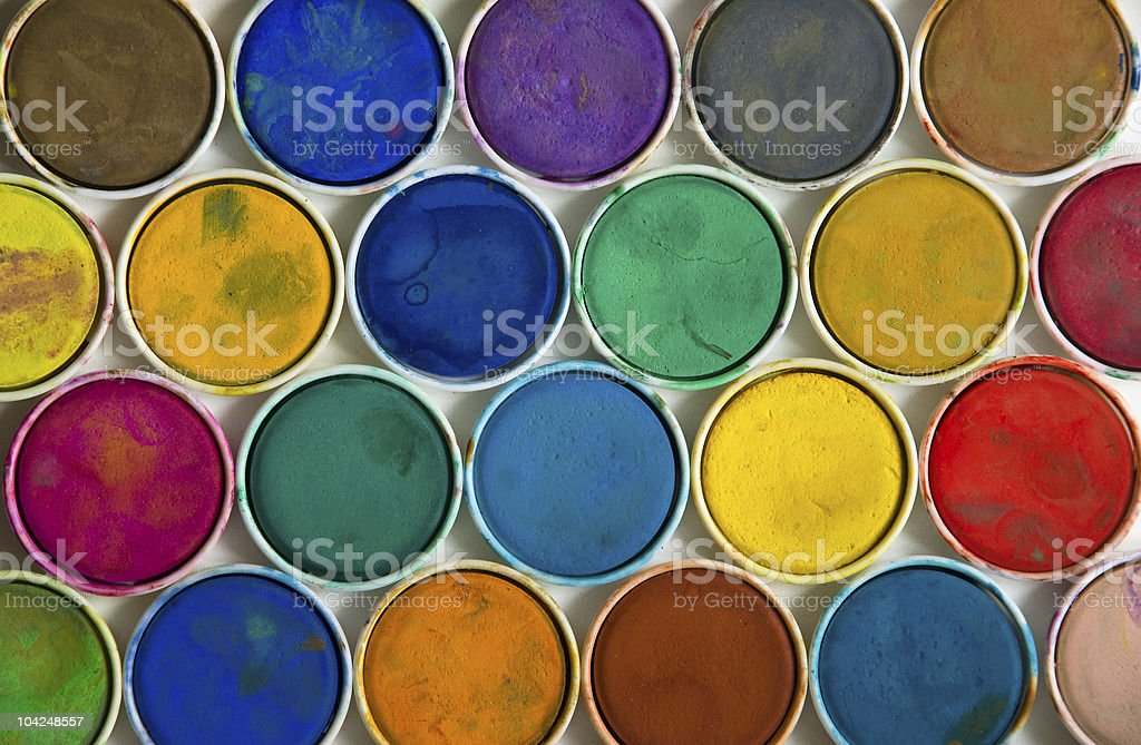 Used watercolor paint royalty-free stock photo