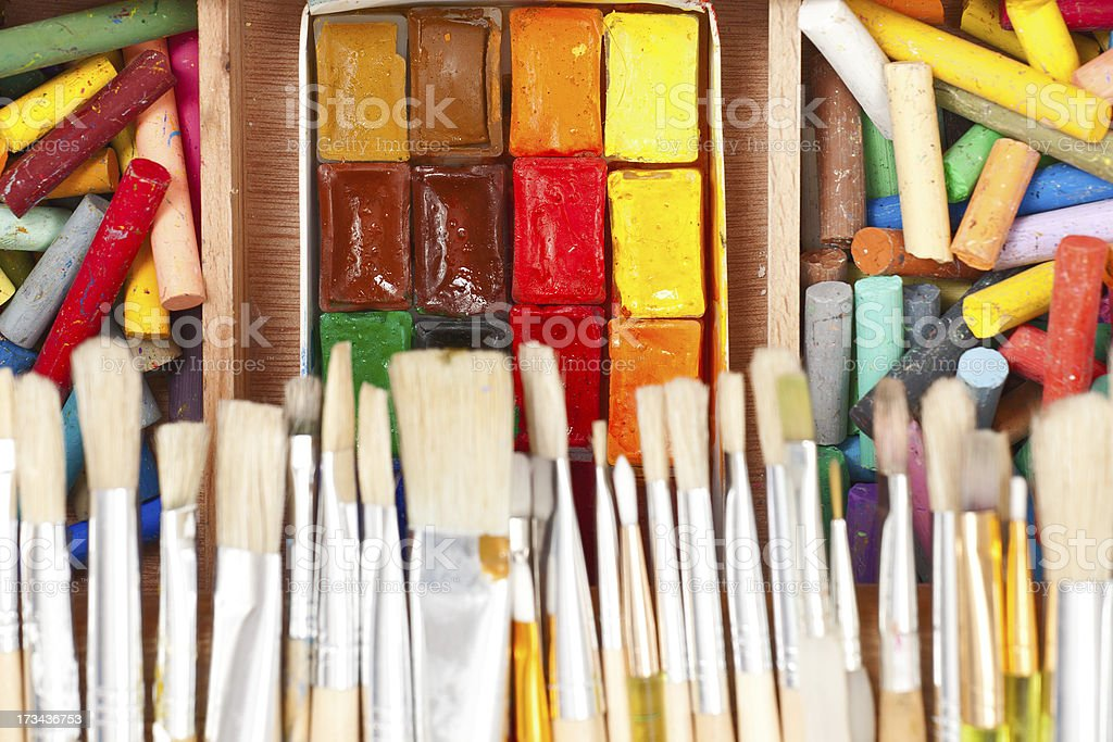 used water-color paint-box with brushes and dry pastel royalty-free stock photo