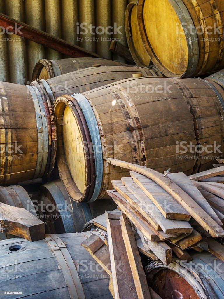 Used Wine Barrels Stock Photo More Pictures Of Broken Istock