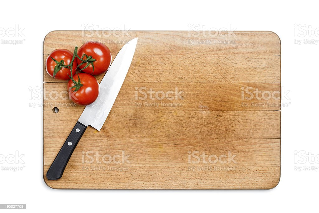 used wooden cutting board stock photo