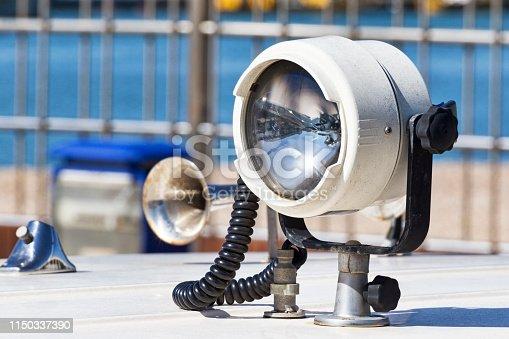 172424642 istock photo A useful beacon fixed on a white fiberglass boat 1150337390