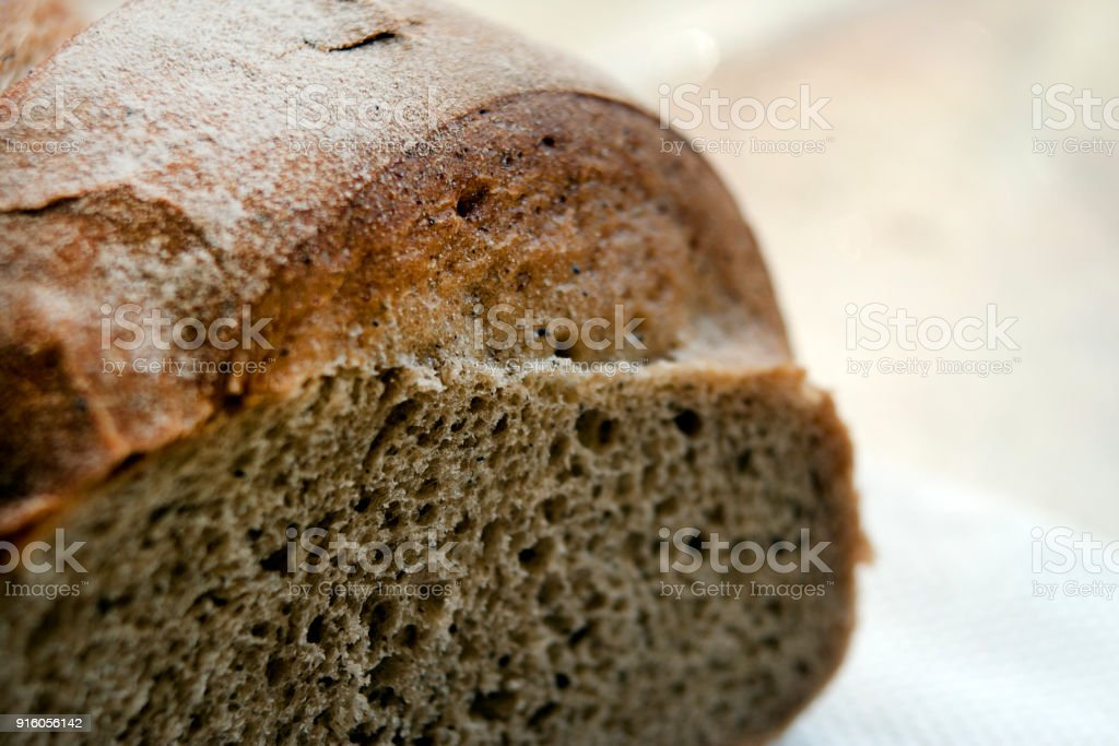 Useful bread from rye flour close-up. Healthy lifestyle, product stock photo