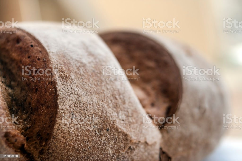 Useful bread from rye flour close-up. Healthy lifestyle, products with a low glycemic index stock photo