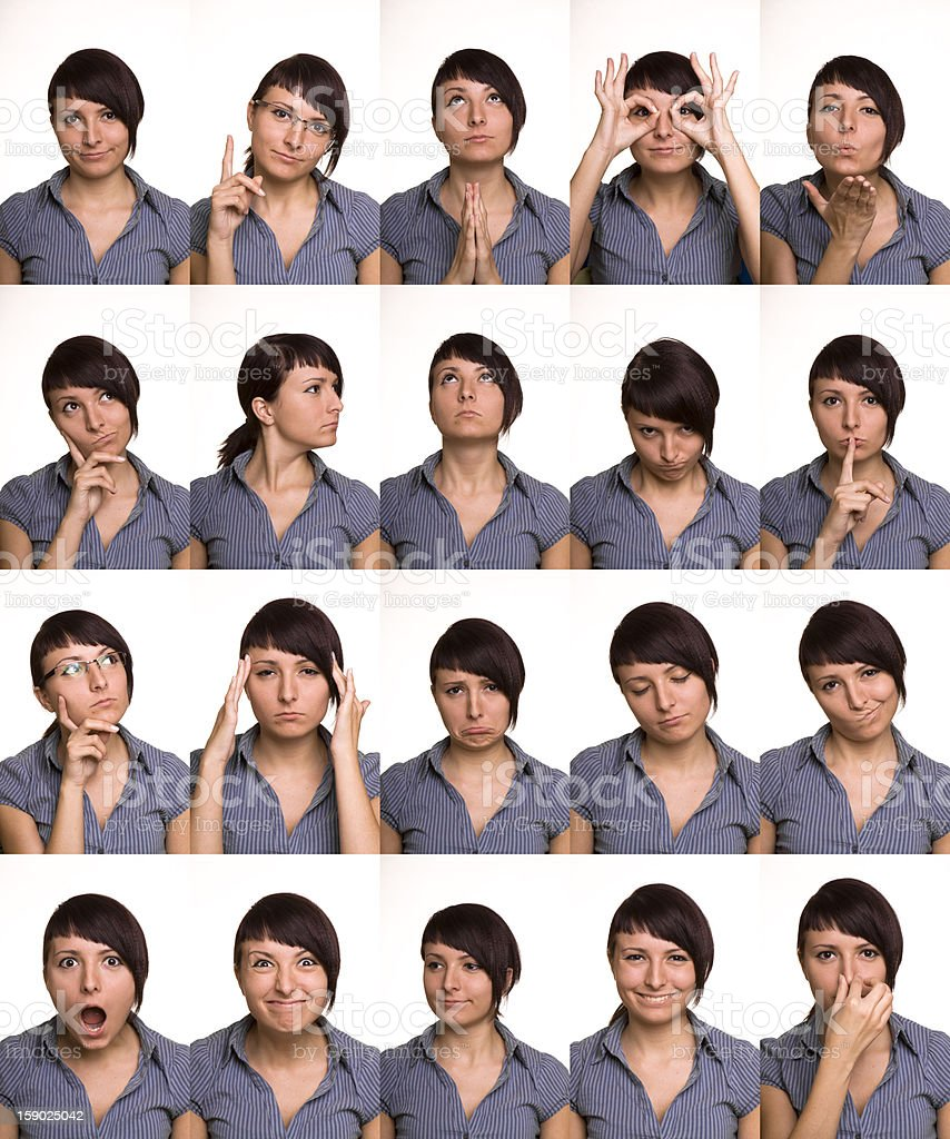 Useful facial expressions. Actor faces. stock photo