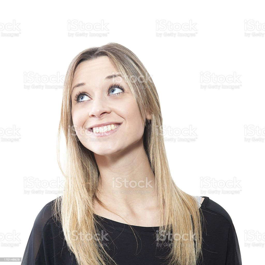 Useful female facial expressions, smiling royalty-free stock photo