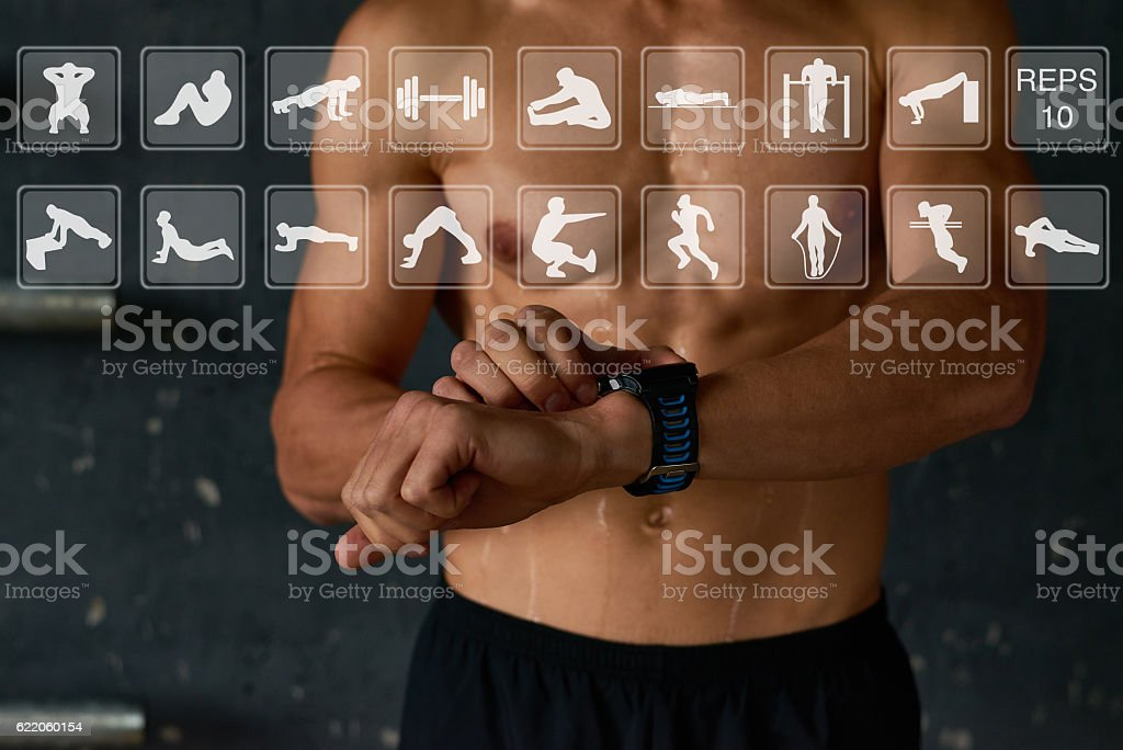 Useful smartwatch for sport stock photo