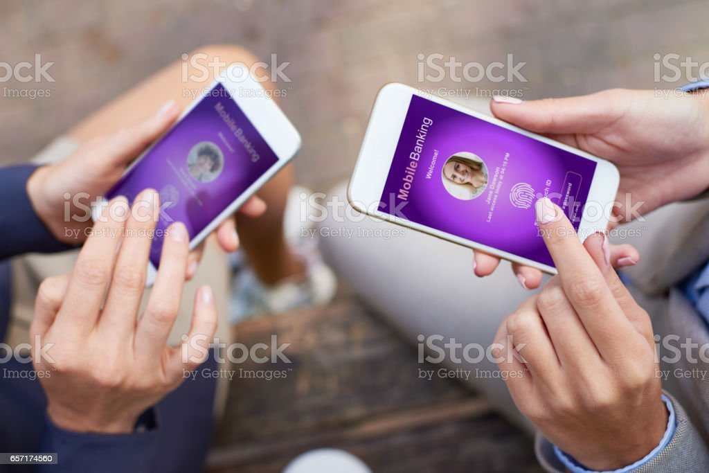 User authentication for mobile banking stock photo