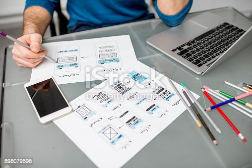 istock User experience designer working at the office 898079598