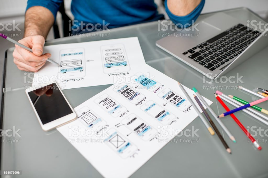 User experience designer working at the office stock photo