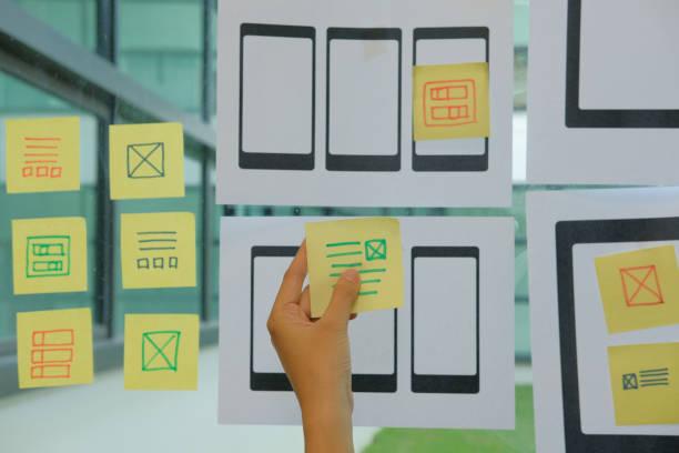 Benutzerfreundlichkeit UX Designer entwerfen Web auf Handy-Tablet-Layout. UI, mobile Bauantrag. Entwickler arbeiten mit Business-Prototyp – Foto
