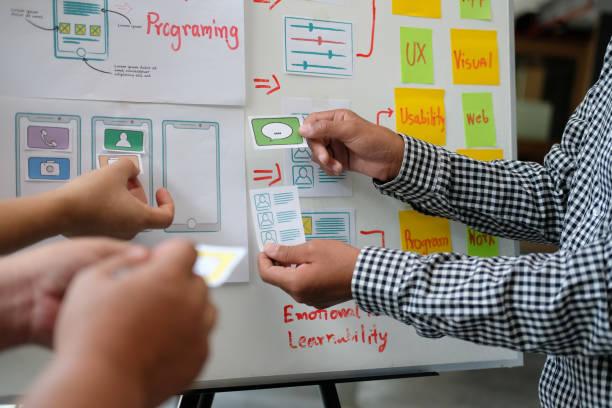 Benutzererfahrung UX Designer Design Web auf Smartphone-Layout. UI-Entwickler planung arbeiten an Prototyp mobiler Anwendungen – Foto