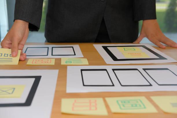 Benutzerfreundlichkeit UX Designer entwerfen Web auf Smartphone-Tablet-Layout. UI, mobile Bauantrag. Entwickler arbeiten mit Business-Prototyp – Foto