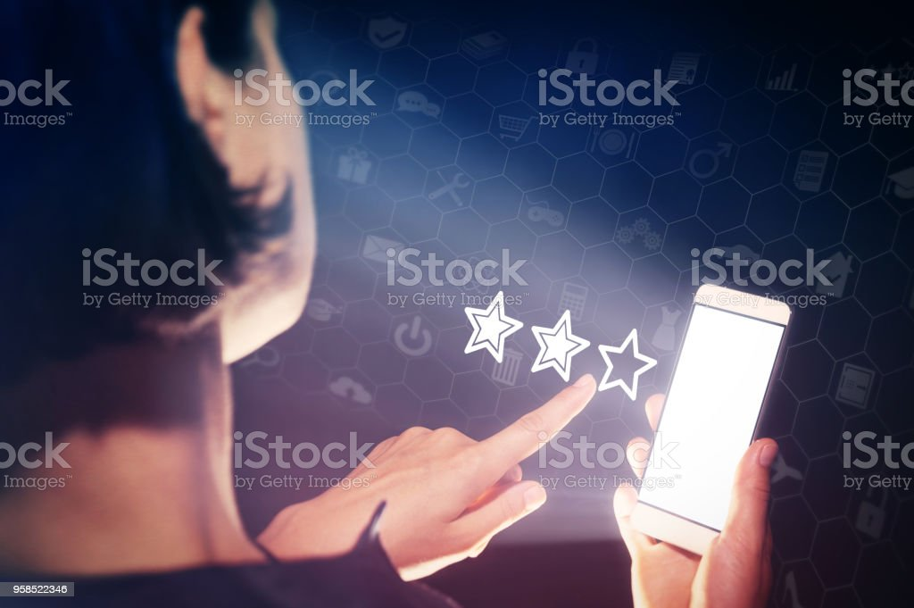 User feedback, quality assessment, product and service ratings. stock photo