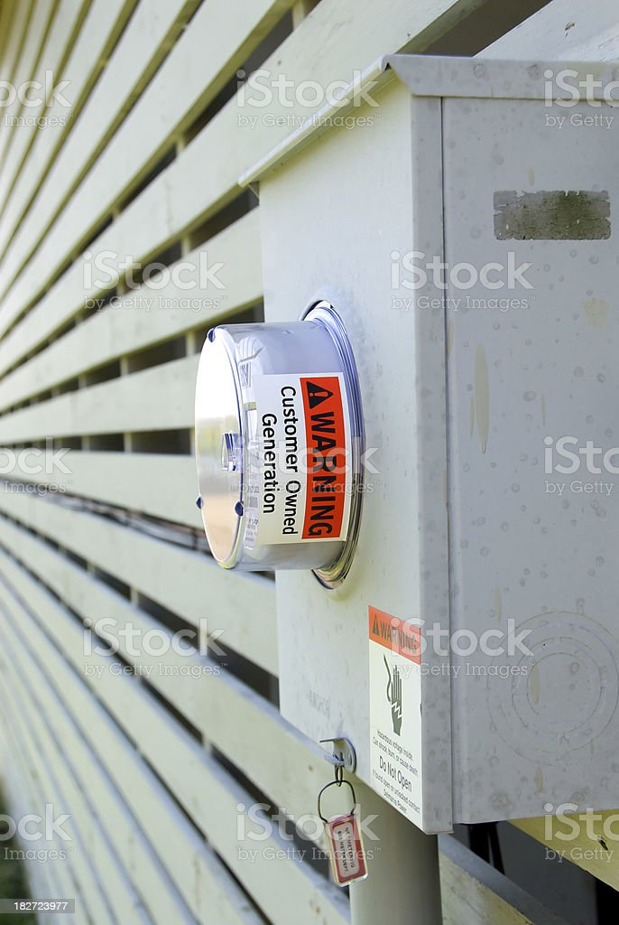 User Generated Electrical Meter for Solar Panels royalty-free stock photo