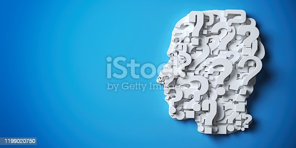 istock User profile, characer analisys and searching person. Men silhouette from question mark on blue background. 1199020750