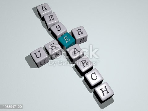 istock user research combined by dice letters and color crossing for the related meanings of the concept. illustration and icon. 3D illustration 1263947120