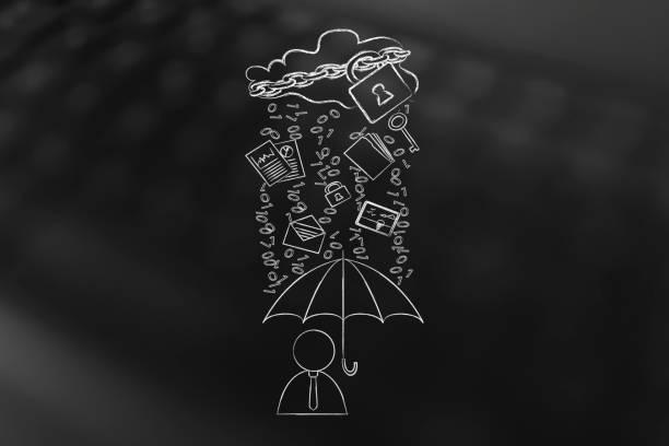 user with umbrella under binary code rain, data breach protection stock photo