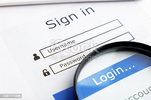 Username and password. Internet connection and cyber protection. Top view