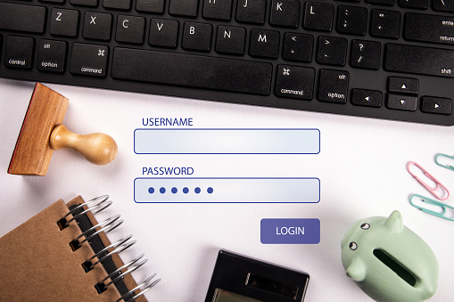 istock Username and password login. Global network connection 1193526142